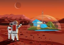 Casa do espaço em Marte Os seres humanos baixos no espaço Ilustração do vetor Fotografia de Stock