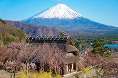 Casa do estilo de Japanease do vintage e Mt fuji fotografia de stock