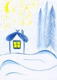Casa do inverno, desenhar dos miúdos Fotografia de Stock Royalty Free