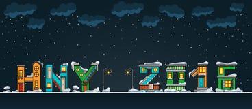 Casa do inverno dos desenhos animados do alfabeto, hny Ilustração do Vetor