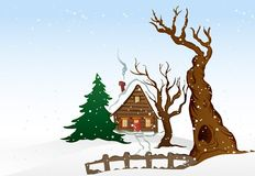 Casa do inverno dos desenhos animados. Ilustração do vetor Imagem de Stock Royalty Free