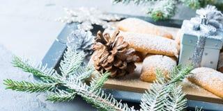 A casa do inverno fez cookies para o Natal bandeira Fotografia de Stock Royalty Free
