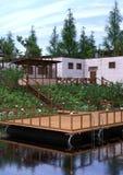 casa do lago rendering 3D Foto de Stock