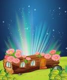 Casa do log na noite ilustração royalty free
