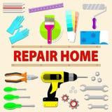 A casa do logotipo remodela o serviço Grupo de ferramentas do reparo dos ícones Fotos de Stock