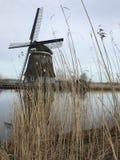 Casa do moinho de vento através da grama alta Fotos de Stock Royalty Free