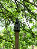 Casa do pássaro como um oferecimento no cemitério do bosque do carvalho imagem de stock royalty free