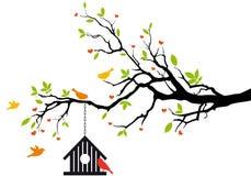 Casa do pássaro na árvore da mola,   ilustração royalty free
