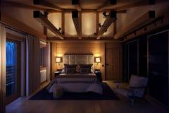 casa do quarto da rendição 3D na montanha Fotos de Stock Royalty Free