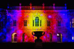 Casa do Senado de Cambridge iluminada durante o festival da luz do eLuminate Imagens de Stock