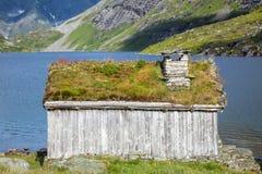 Casa do telhado da grama em Noruega foto de stock