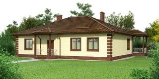 Casa do tijolo com um jardim Imagens de Stock Royalty Free