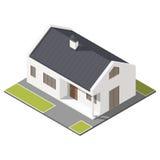 casa do Um-andar com grupo isométrico do ícone do telhado inclinado Fotos de Stock Royalty Free