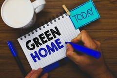 Casa do verde do texto da escrita da palavra O conceito do negócio para uma área encheu-se com as plantas e as árvores onde você  imagem de stock royalty free