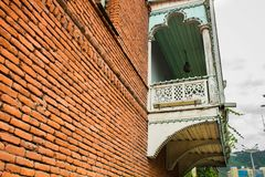 Casa do vintage em Tbilisi preto e branco Fotografia de Stock Royalty Free