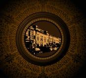Casa do vintage no frame floral Imagens de Stock Royalty Free