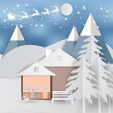 Casa do whit do feriado de inverno e fundo de Santa Claus Estação do Natal Estilo da arte do papel da ilustração do vetor Imagem de Stock