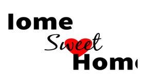 Casa doce da casa simples do texto com coração vermelho sobre o branco ilustração royalty free