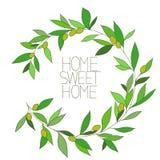 Casa dolce casa, grafica a colori floreale ispiratrice disegnata a mano immagini stock