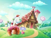 Casa dolce dei biscotti e della caramella illustrazione vettoriale