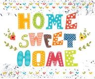 Casa dolce domestica Progettazione del manifesto con testo decorativo Immagine Stock