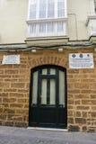 Casa donde llevado el compositor español Manuel de Falla en 23 Nove foto de archivo
