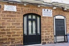 Casa donde llevado el compositor español Manuel de Falla en 23 Nove imagen de archivo