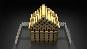 Casa dorata costruita delle barre di oro, fondo scuro della casa, isolato illustrazione di stock