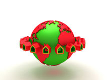Casa dos bens imobiliários em torno do mundo Imagens de Stock