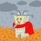 Casa dos desenhos animados Epidemia da gripe Gráfico conceptual imagens de stock royalty free
