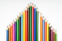 Casa dos lápis da cor Fotografia de Stock Royalty Free