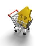 Casa dourada no carrinho de compras, ilustração 3D Foto de Stock