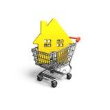 Casa dourada no carrinho de compras, rendição 3D Fotografia de Stock Royalty Free