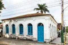 Casa Dr. Frederico Scheffler, Porto Belo, Brazil. Porto Belo, Santa Catarina, Brazil - February 20th, 2018: Facade of the Casa Dr. Frederico Scheffler, built in royalty free stock images