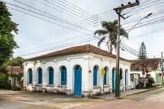 Casa Dr. Frederico Scheffler, Porto Belo, Brazil. Porto Belo, Santa Catarina, Brazil - February 20th, 2018: Facade of the Casa Dr. Frederico Scheffler, built in stock photo