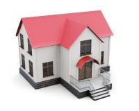 Casa a due piani su fondo bianco rappresentazione 3d Fotografie Stock Libere da Diritti