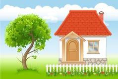 Casa e árvore ilustração do vetor