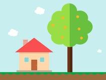 A casa e a árvore alaranjada no jogo denominam o vetor Imagem de Stock Royalty Free