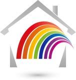 Casa e arco-íris no logotipo da cor, do pintor e dos bens imobiliários ilustração royalty free