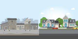 Casa e bassifondi di lusso, lacuna fra povertà e ricchezza illustrazione di stock