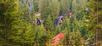 A casa e a cabine telham a calha vista as árvores de floresta na montanha Vlasic Imagens de Stock