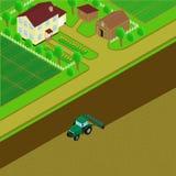 Casa e celeiro da exploração agrícola ilustração royalty free