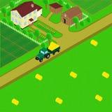 Casa e celeiro da exploração agrícola ilustração do vetor