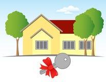 Casa e chave Imagem de Stock