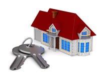 Casa e chaves no fundo branco Ilustração 3d isolada ilustração stock