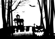Casa e cimitero spaventosi nel legno scuro illustrazione di stock