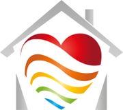 Casa e coração feitos das ondas, das ondas do arco-íris, do pintor e do logotipo do jardim de infância ilustração stock