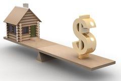 Casa e dólar em escalas. ilustração stock