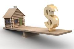 Casa e dólar em escalas. ilustração royalty free