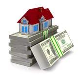 Casa e dinheiro no fundo branco Ilustra??o 3d isolada ilustração royalty free